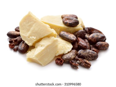 Cocoa butter vith nibs. Isolated on white background.