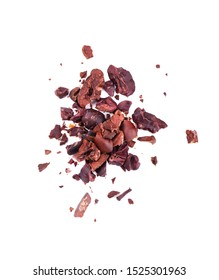 Cocoa crumb. Peeled cacao beans, isolated on white background. Roasted and aromatic cocoa beans, natural chocolate.