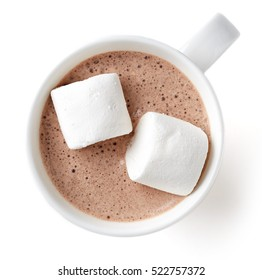 Cocoa drink with marshmallows in white mug isolated on white background, top view
