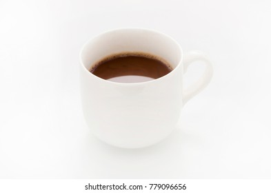 Cocoa drink in white mug isolated on white background,