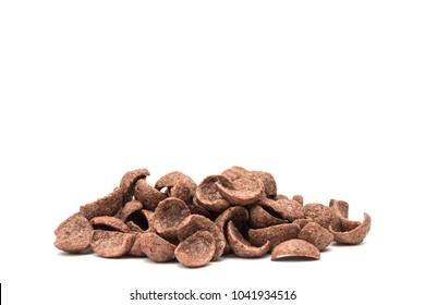 Cocoa flavored cereal isolated on white background with clipping path