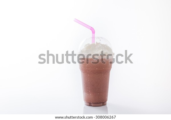 cocoa milkshake topping with whipping cream in takeaway cup isolated on white background