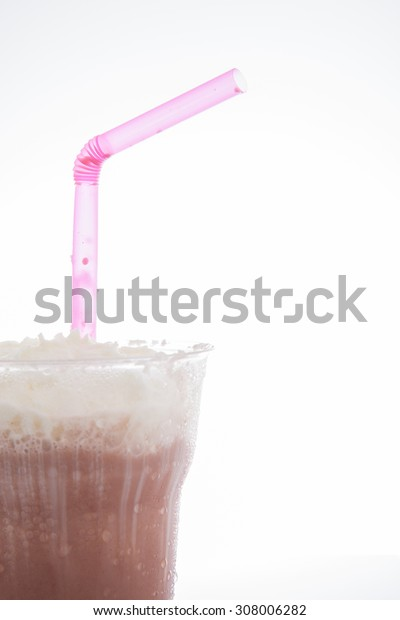 cocoa milkshake topping with whipping cream in takeaway cup after drink isolated on white background