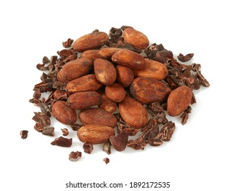 cocoa nibs and beans isolated on white background