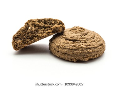 Cocoa oat cookie one cracked half isolated on white background drop shape brown crispy biscuit