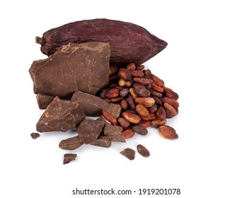 Cocoa pod and cocoa beans with chocolate pieces isolated on a white background.