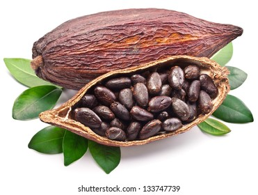 Cocoa pod with cocoa beans isolated on a white background. Organic food.