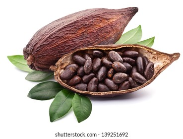 Cocoa pod with cocoa beans on a white background.