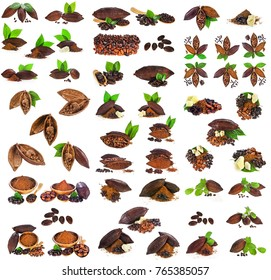 Cocoa pods, cocoa beans, cocoa butter and cacao powder with leaves isolated on white background. Collection.