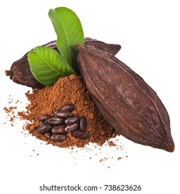 Cocoa pods and cocoa beans and cacao powder with leaves isolated on white background