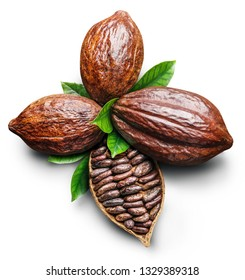 Cocoa pods and cocoa beans -chocolate basis on a white background. Clipping path.