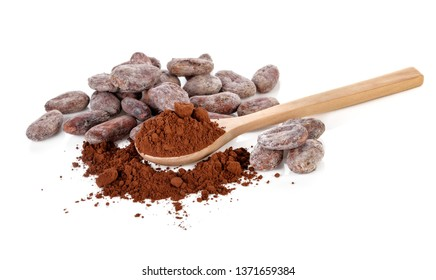 cocoa powder and beans isolated on white background