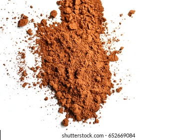 cocoa powder, brown Powder, Makeup Blush Powder isolated on white background