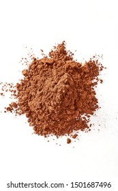 Cocoa powder isolated on a white background. Copy space. Top view