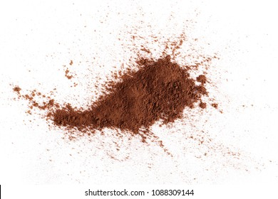 Cocoa powder pile isolated on white background, top view