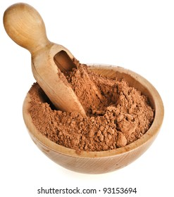 cocoa powder with wooden scoop  isolated on white background