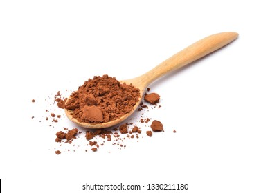 Cocoa powder in wooden spoon isolated on white background.