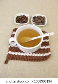 Cocoa tea, cocoa husk tea from roasted outer shells of the cacao bean