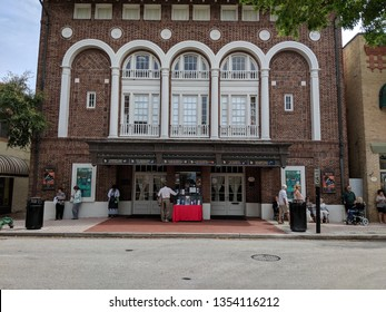 Cocoa-Florida, USA. March 16, 2019. Playhouse theater in downtown Cocoa Village attracts visitors and passer by's with it's historical arquitecture.