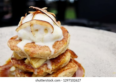 Coconut and Banana Hotcakes with Caramel Sauce and Coconut Sorbet