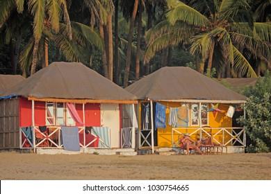 Coconut beach holiday bungalows on stilts Agonda beach,  Goa  India