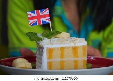 Coconut cake decorated with the British flag.