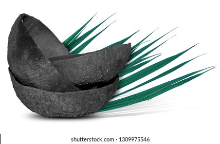 coconut charcoal isolated on white