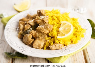 Coconut chicken with turmeric rice