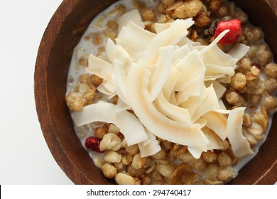 Coconut chips on Granola for healthy breakfast image