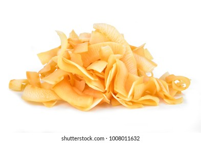 Coconut chips on a white background
