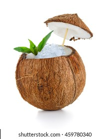 coconut cocktail with ice isolated on white background