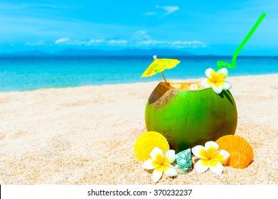Coconut cocktail on Caribbean beach