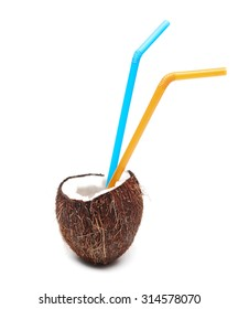 Coconut cocktail with two straws isolated on white