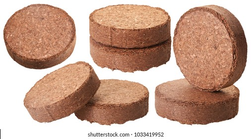 Coconut Coir Isolated on White Background. (Used as Growing Medium or Soil Amendment). An excellent modern organic soil for growing plants.