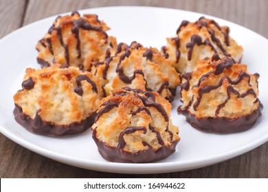 Coconut cookies, selective focus