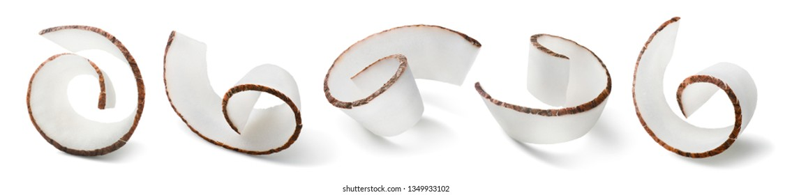 Coconut curl options isolated on white background. Package design elements with clipping path. Full depth of field
