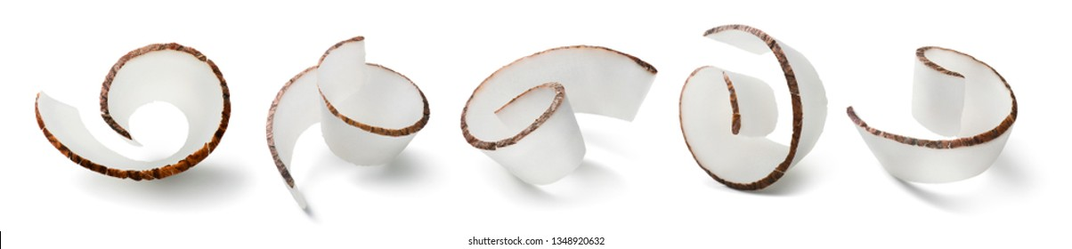 Coconut curl slices set isolated on white background. Package design element with clipping path