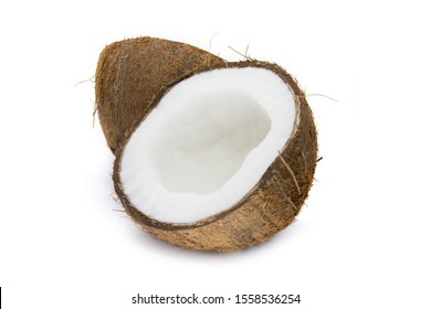Coconut cut in two half on white background