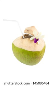 Coconut drink with a straws isolated on white background