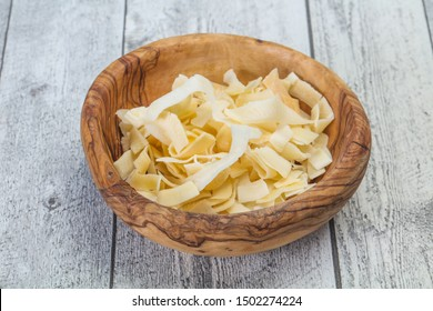 Coconut dry chips snack in the bowl