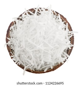 coconut, flakes, chips, isolated on white background, full depth of field, clipping path