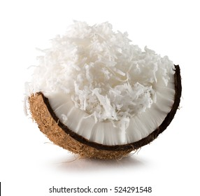 coconut with coconut flakes isolated on the white background