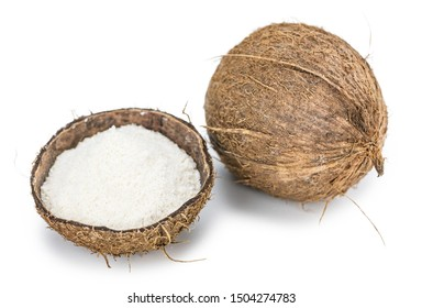 Coconut flour as detailed close-up shot isolated on white background (selective focus)