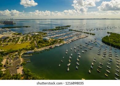 Coconut Grove Dinner Key Marina aerial drone photo