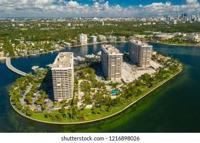 COCONUT GROVE, FL, USA - OCTOBER 28, 2018: Aerial drone photo of Grove Isle Condominium Island Coconut Grove Miami Florida