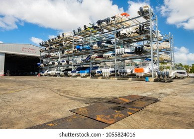 Coconut Grove, Florida USA - March 27, 2018: The Grove Harbour Marina provides indoor and outdoor boat storage facilities on Dinner Key Basin.