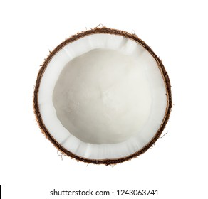 Coconut Half isolated on white background. Top view.
