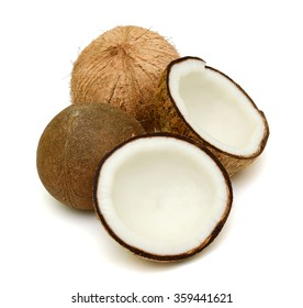 Coconut with half isolated on white Background