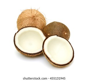 Coconut with half isolated on white Background. Clipping Path