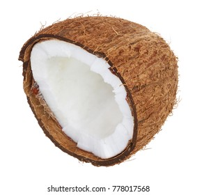coconut half isolated on white background. Flat lay. Top view